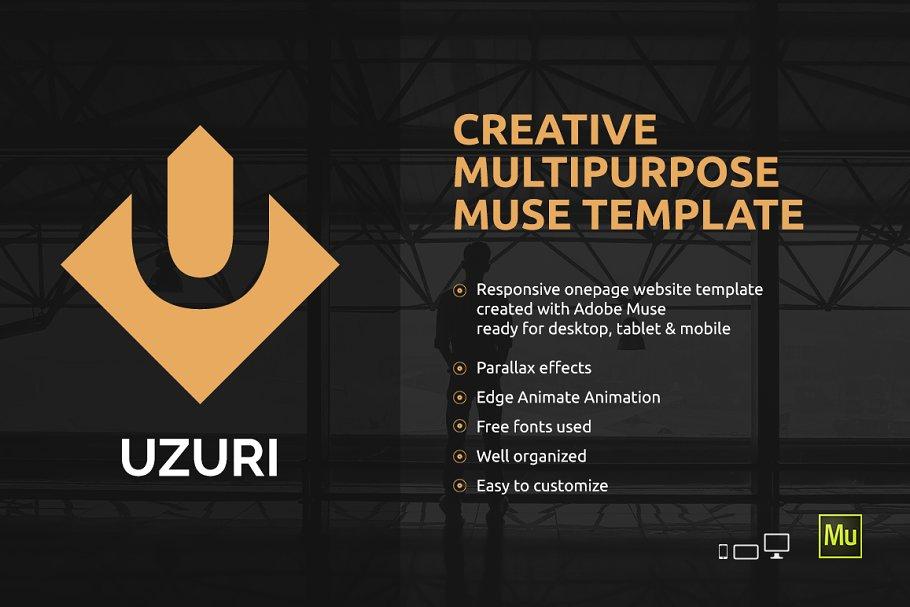 Uzuri Multipurpose Muse Template Website Templates Creative Market
