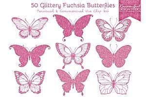 50 Glittery Fuchsia Butterflies