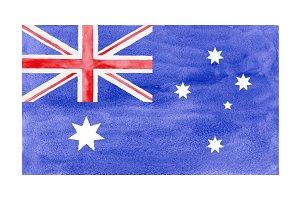 Watercolor Flag of Australia