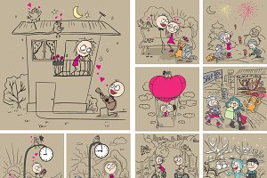 Set of fun cartoon on Valentines Day