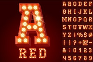 Light up red alphabet