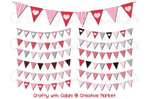 Valentine Triangle Pennant Bunting