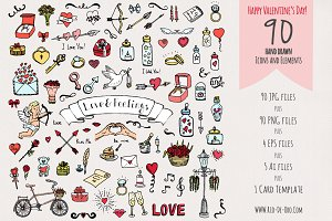 90 Hand drawn Love Elements&Symbols