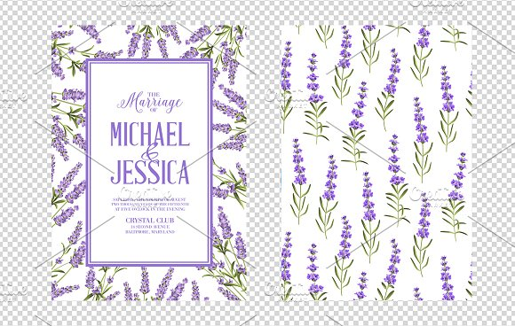 Lavender elegant card collection. in Wedding Templates - product preview 3
