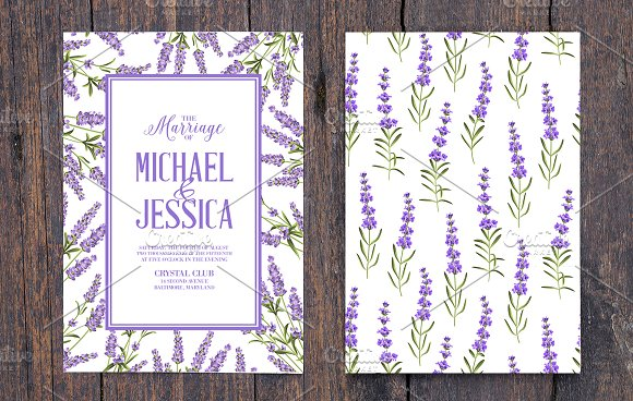 Lavender elegant card collection. in Wedding Templates - product preview 4