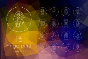 16 fingerprint line icons