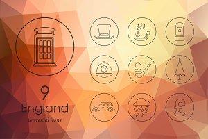 9 England line icons