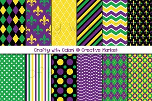 Mardi Gras Digital Paper Set