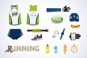 running kit elements - vector
