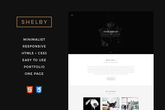 shelby one page html5 template html css themes on. Black Bedroom Furniture Sets. Home Design Ideas