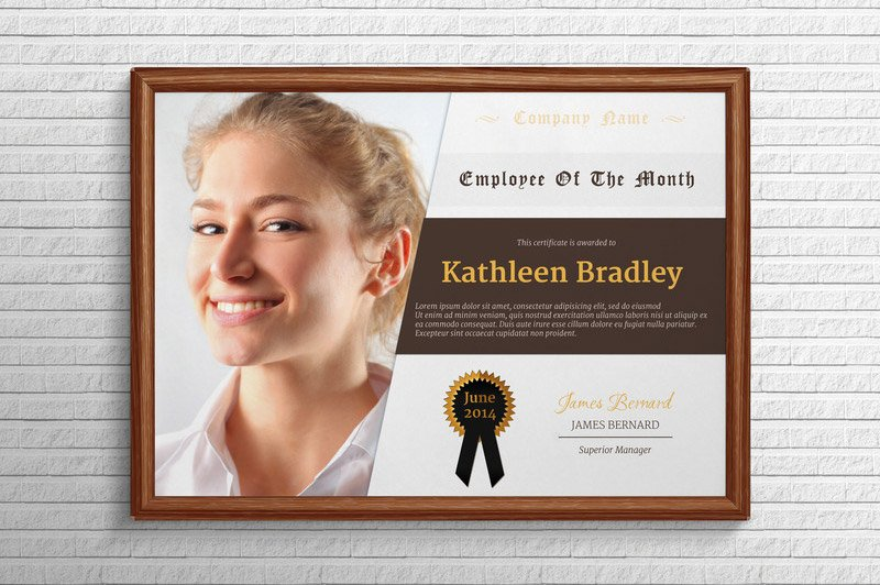 Employee of the month certificate stationery templates for Employee of the month certificate template with picture