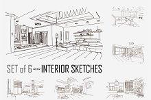 6 hand drawn interior sketches