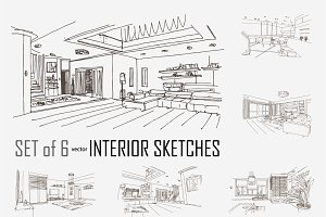 6 hand drawn interior sketches