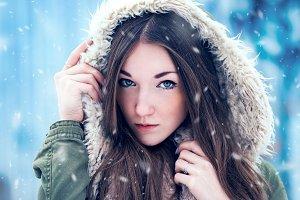 Beautiful girl on winter portrait