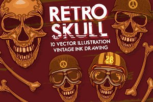 10 RETRO SKULL VECTOR PACK