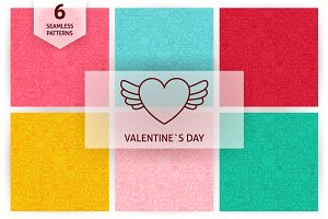 Valentine Day Line Seamless Patterns