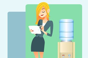 girl office water cooler tablet
