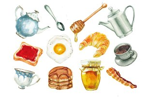 Watercolor breakfast set