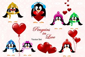 St. Valentines day Penguins. Vector