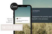 Twitter Quote Template For Canva by  in Social Media