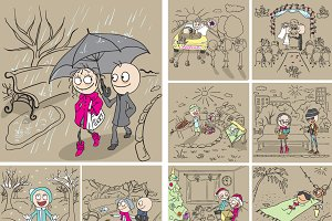 Set of fun cartoon on Couple in love