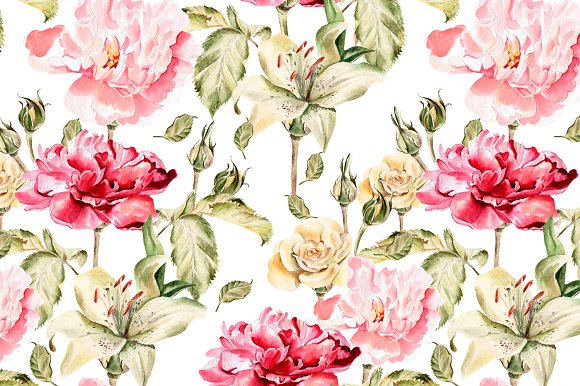 Beautiful watercolor flowers in Objects - product preview 2