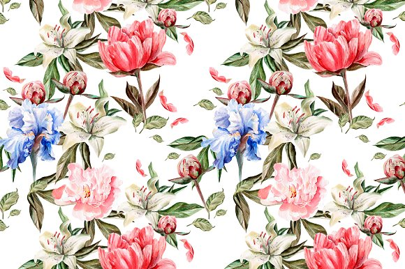 Beautiful watercolor flowers in Objects - product preview 3