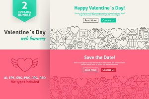 Valentine`s Day Line Art Web Banners