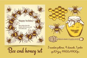 Sketch bumble bee and honey set