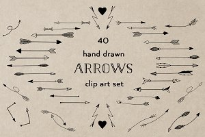 40 Black arrow clipart set