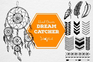 Hand drawn dreamcatcher set