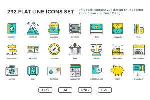 292 Flat Line Icons Pack
