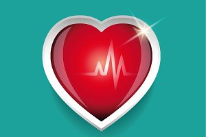 Cardiogram and red heart