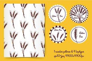 Wheat pattern and gluten free logo