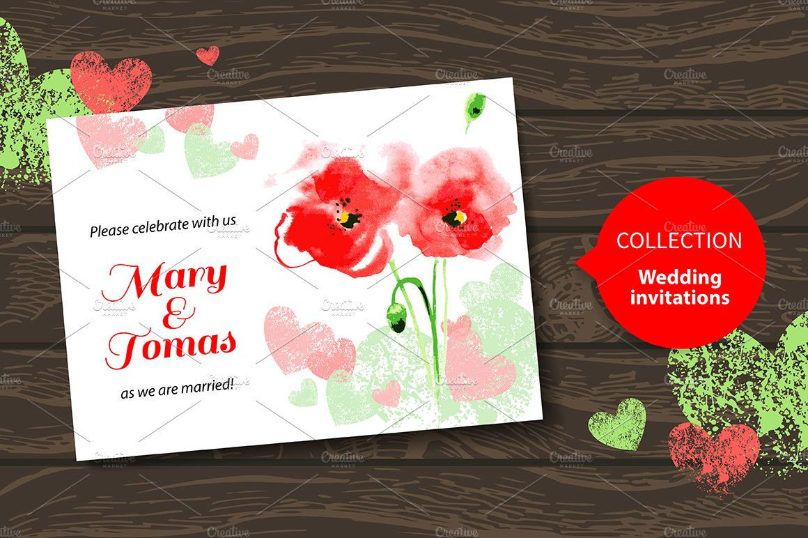 Watercolor Poppy Wedding Invitations ~ Invitation Templates ...