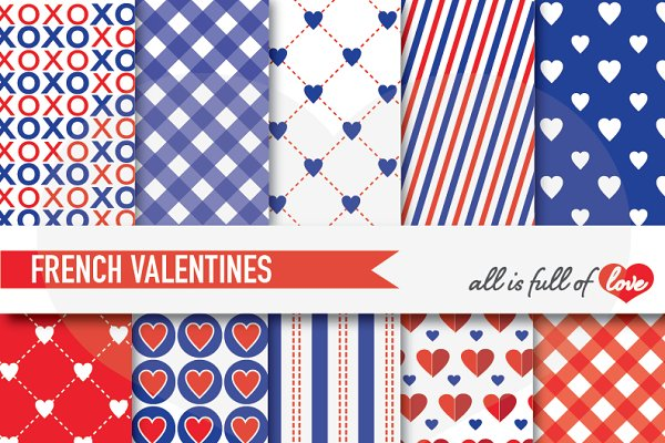 Red Blue Valentine Paper French LOV…