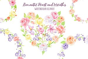 Watercolor Rose Wreath, Heart