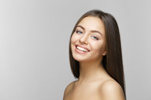 Woman smile. Teeth whitening.