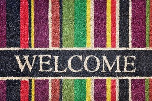Doorway rug or doormat, welcome