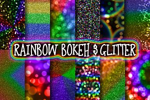 Rainbow Bokeh & Glitter Backgrounds