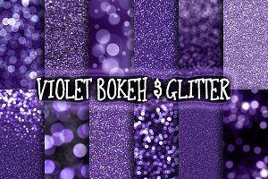 Violet Bokeh & Glitter Backgrounds
