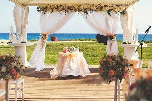 Wedding tent and ocean
