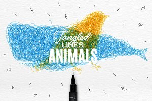 Animals tangled line