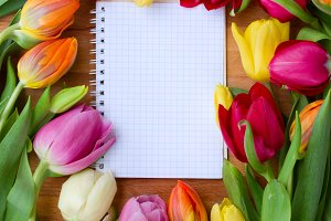 notebook with tulips