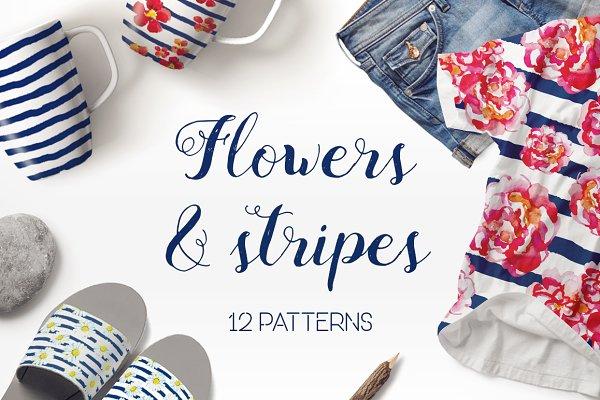 Flowers & Stripes 12 patterns