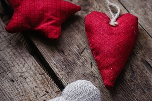 Handmade fabric heart with gift box