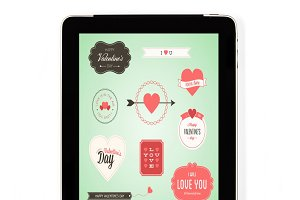 Tablet concept Valentine's Day signs