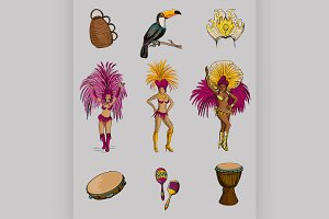 Brazilian Carnival hand drawn icon