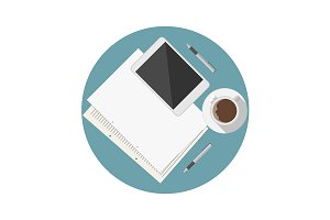 Blogger workplace flat vector icon