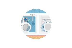 Kitchen sink round flat vector icon